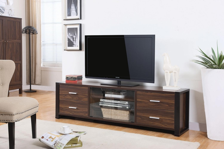 700491 TV Console - Dark Chestnut/ Cappuccino