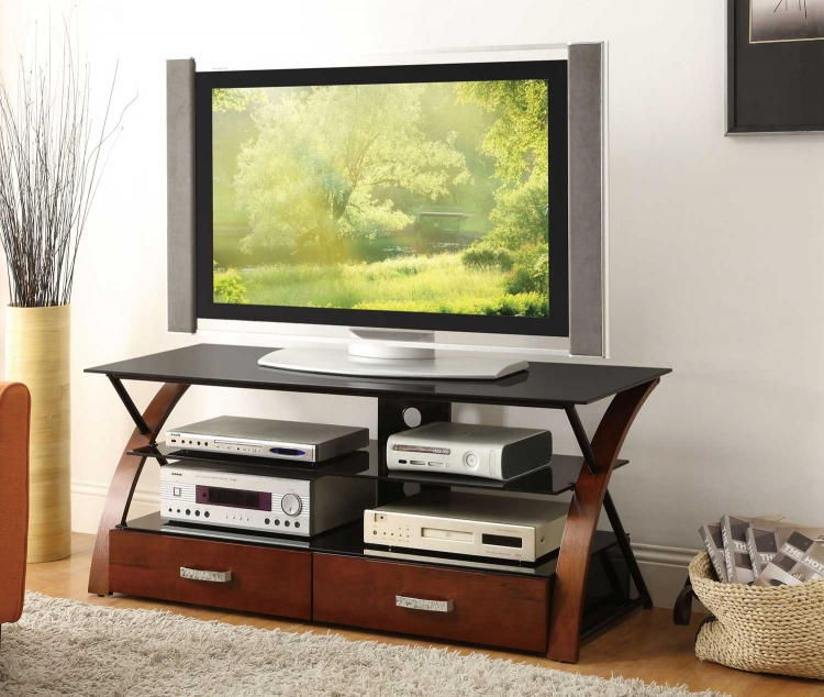 700770 TV Console - Black/Warm Brown