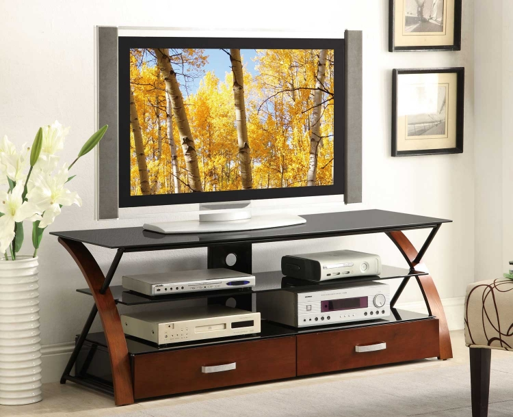 700771 TV Console - Black/Warm Brown