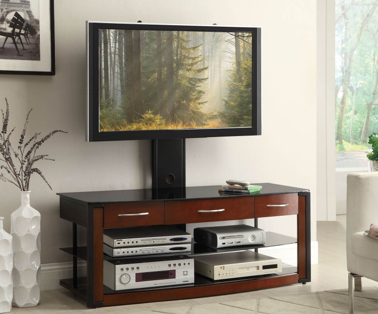 700772 TV Console - Black/Warm Brown