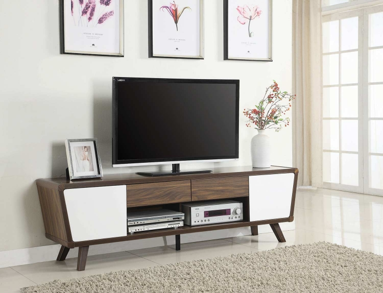 700793 TV Console - Chestnut/ Glossy White