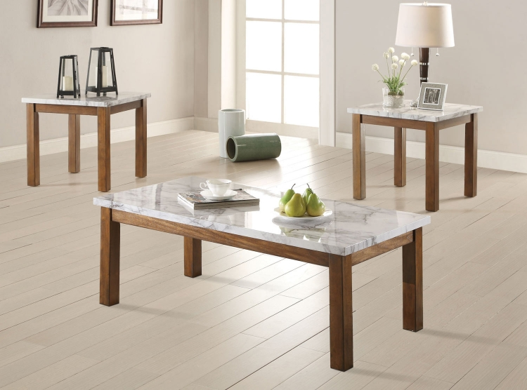 701001 3PC Coffee Table Set - Brown/Faux Marble