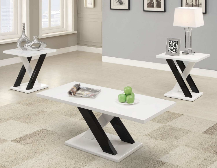 701011 3PC Coffee Table Set - Black and White