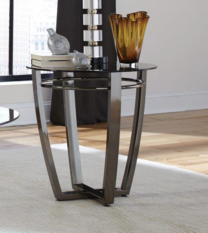 702277 End Table - Black Nickel