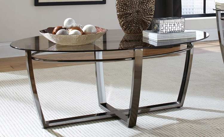 702278 Oval Coffee Table - Black Nickel