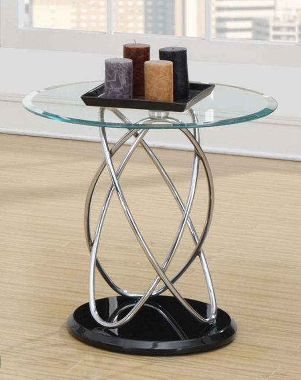 702557 End Table - Black/Chrome