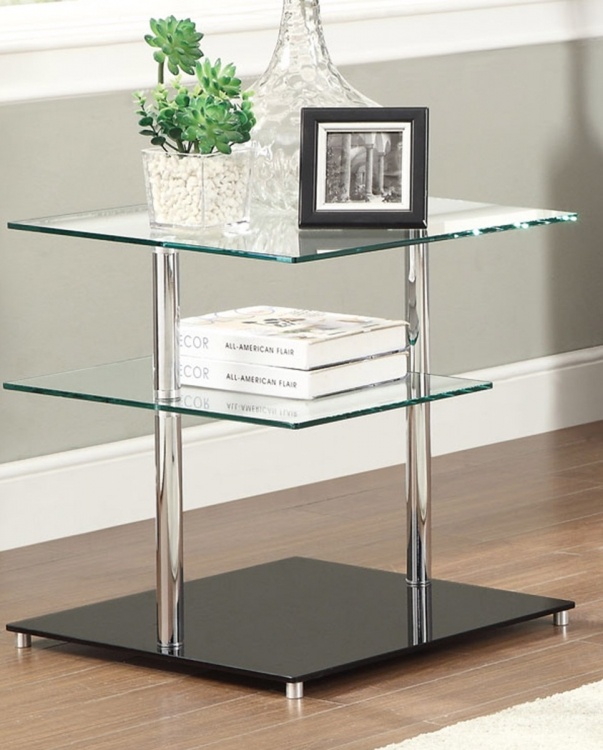 702697 End Table - Chrome/Black