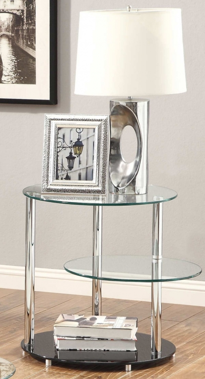 702707 End Table - Black/Chrome