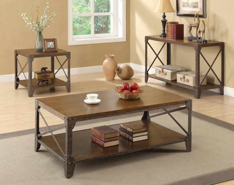 703198 Coffee/Cocktail Table Set - Rustic Brown