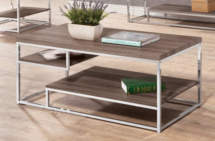 703488 Coffee Table - Weathered Taupe/Chrome