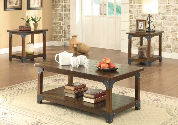 703587 3 PC Coffee Table Set - Tobacco Brown