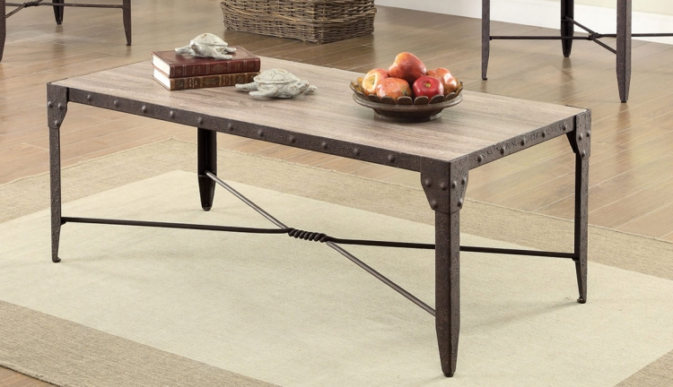 703698 Coffee Table - Weathered Brown/Antique Brown Patina