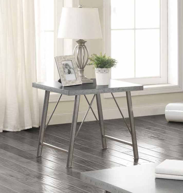 703757 End Table - Galvanized and Gunmetal