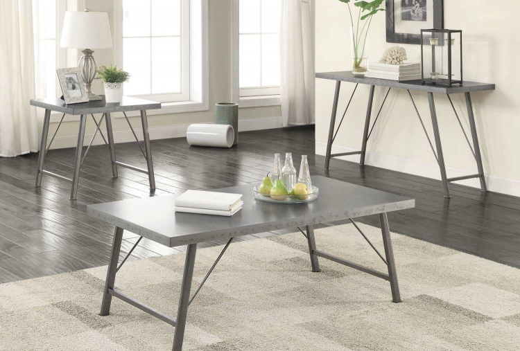 703759 Coffee Table Collection - Galvanized/Gunmetal