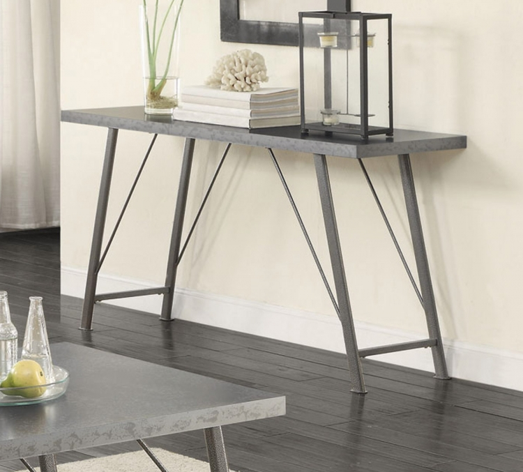 703759 Sofa Table - Galvanized/Gunmetal
