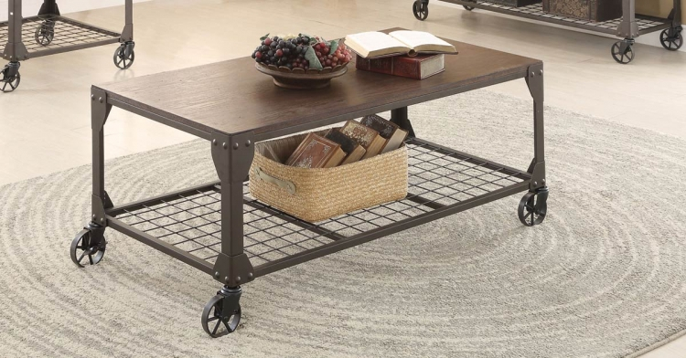 703908 Coffee Table - Red Brown/Black