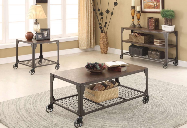 703909 Coffee Table Collection - Red Brown/Black