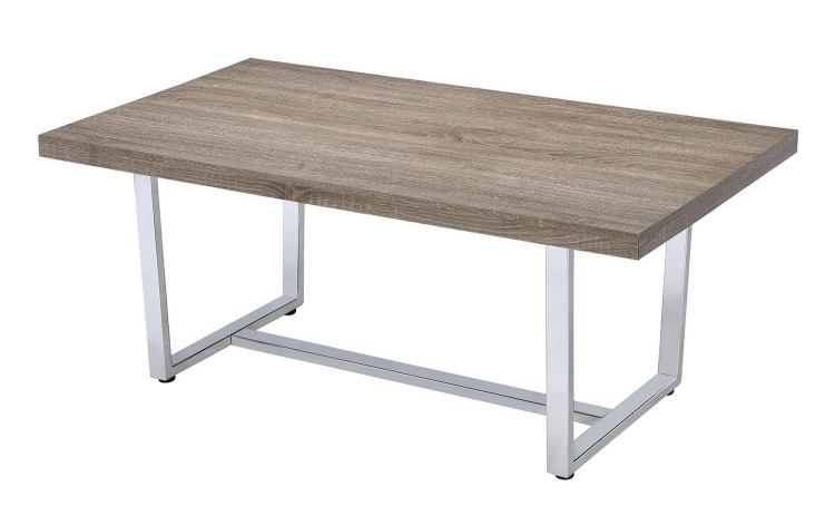 704188 Coffee/Cocktail Table - Weathered Taupe/chrome Metal