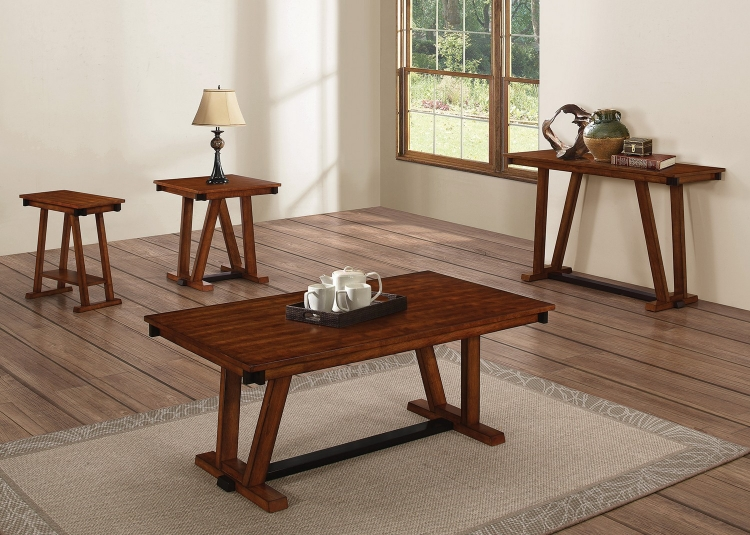 704288 Coffee/Cocktail Table Set - Dark Amber/coffee Bean