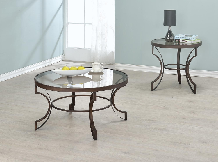 704458 Coffee Table Set - Bronze/ Tempered Glass