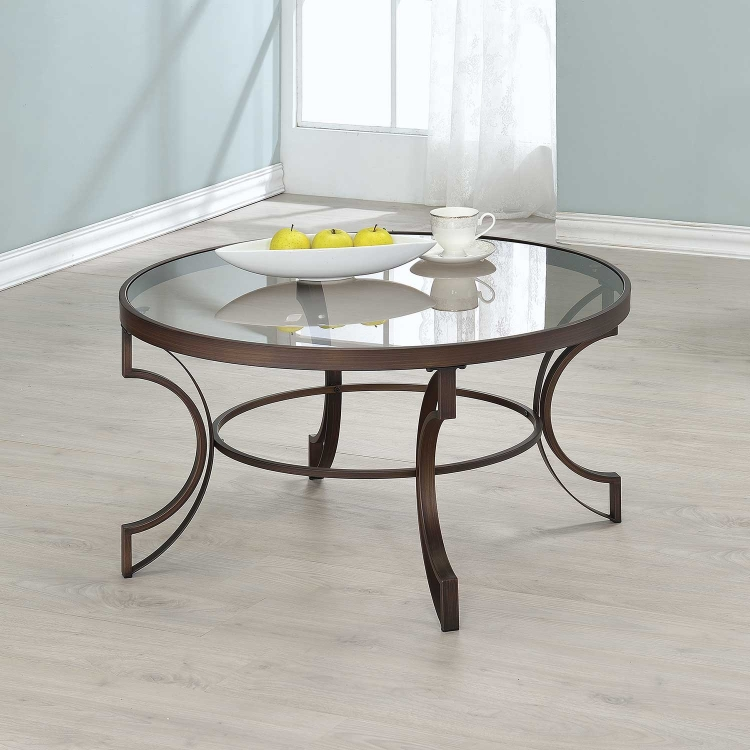 704458 Coffee Table - Bronze/ Tempered Glass