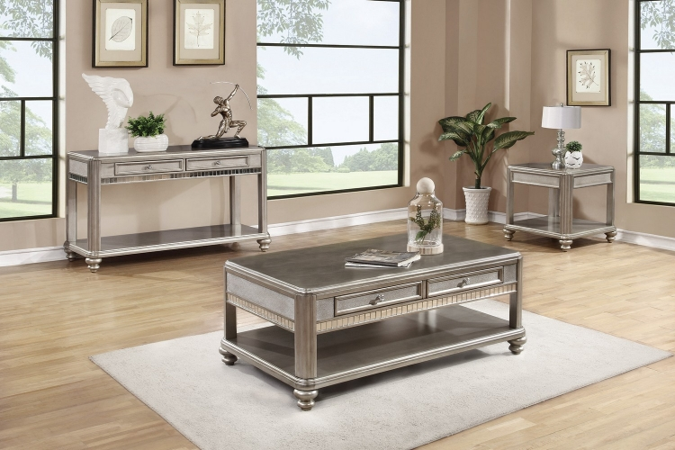 704618 Coffee/Cocktail Table Set - Metallic Platinum