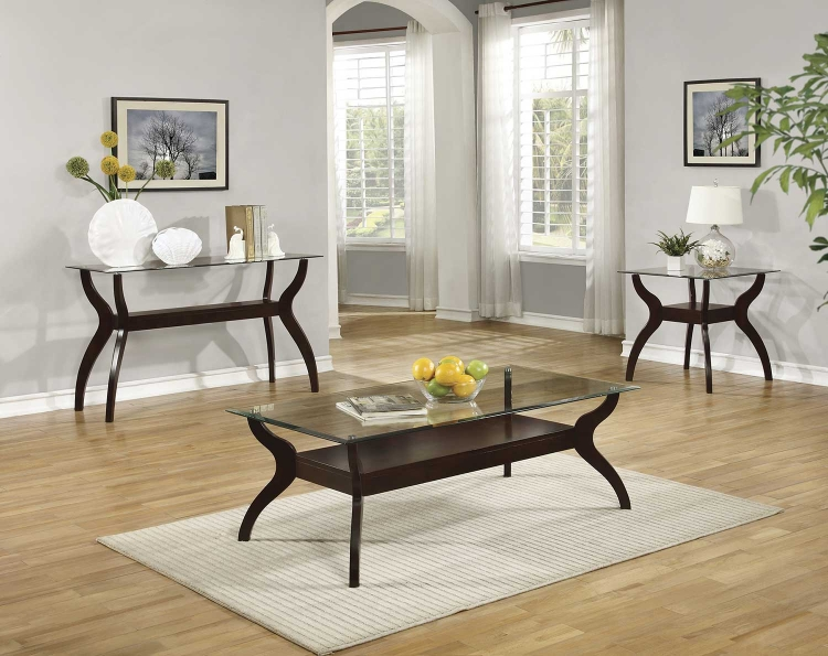 704628 Coffee Table Set - Cappuccino / Tempered Glass