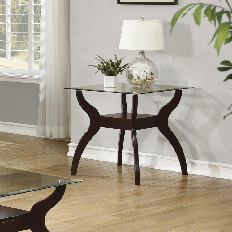 704628 End Table - Cappuccino / Tempered Glass