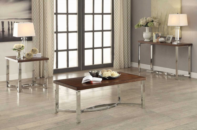 705078 Occasional/Coffee Table Set - Dark Brown/Chrome