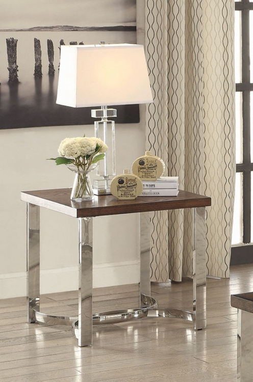 705077 End Table - Dark Brown/Chrome