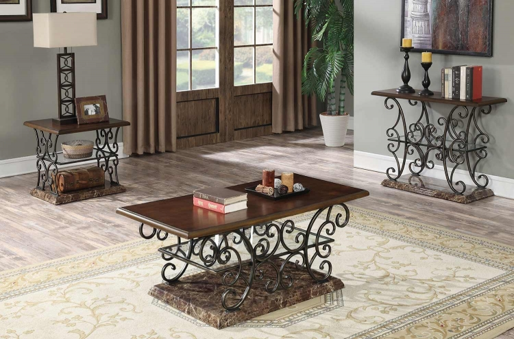 705118 Occasional/Coffee Table Set - Merlot/Gold Brushed Bronze