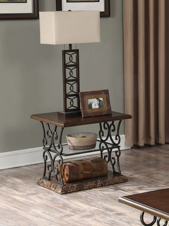 705117 End Table - Merlot/Gold Brushed Bronze