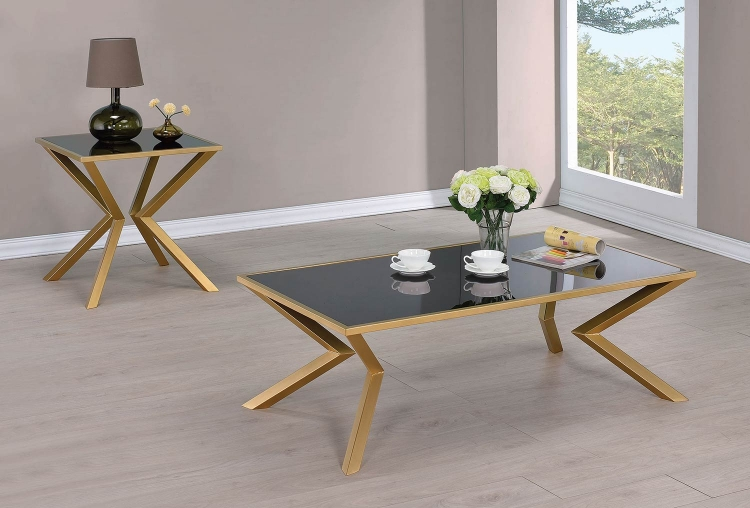 705188 Occasional/Coffee Table Set - Black Glass/Brushed Brass