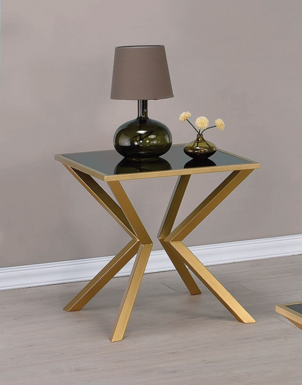 705187 End Table - Black Glass/Brushed Brass
