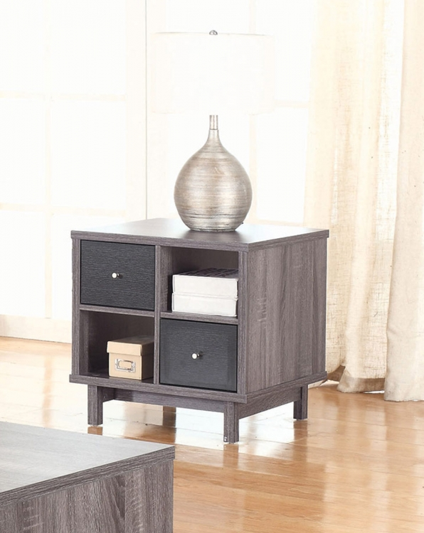 705387 End Table - Antique Grey/Black