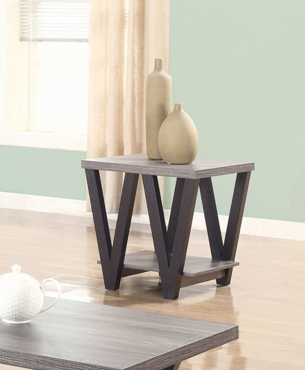 705397 End Table - Antique Grey/Black