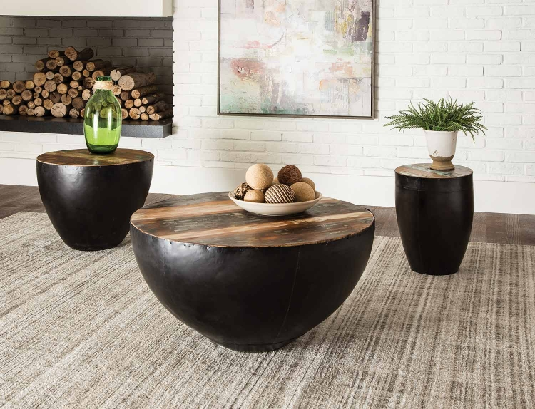 705536 Coffee Table Set - Natural Reclaimed Wood/Black Iron