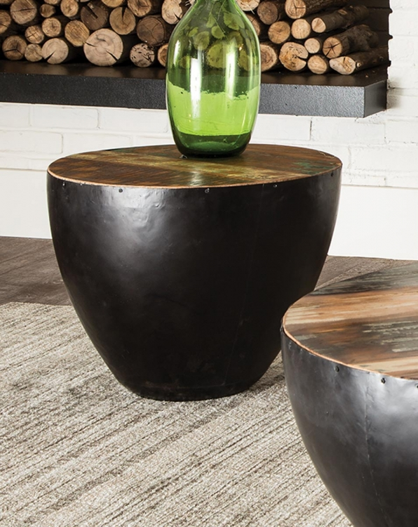 705537 End Table - Natural Reclaimed Wood/Black Iron