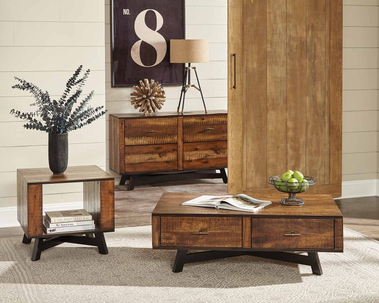 Montana Coffee Table Set - Tobacco/Black Sand-off