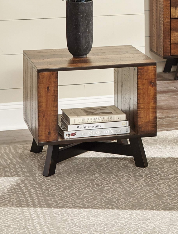 Montana End Table - Tobacco/Black Sand-off