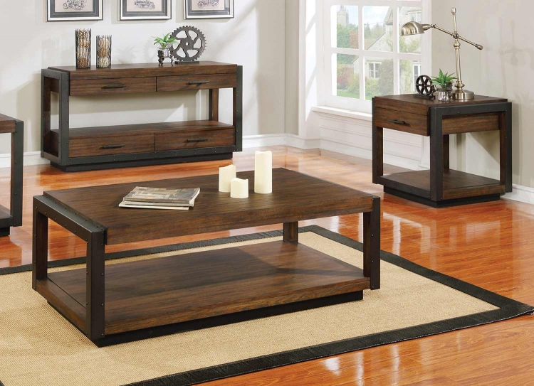 Sawyer Coffee Table Set - Linen/Dark Brown