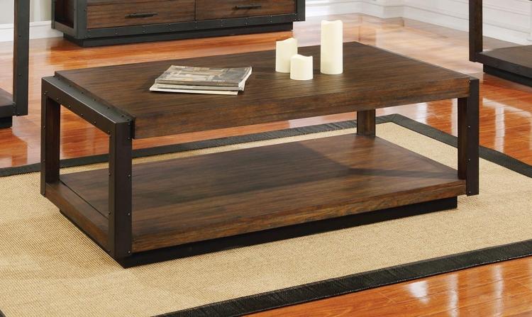 Sawyer Coffee Table - Linen/Dark Brown