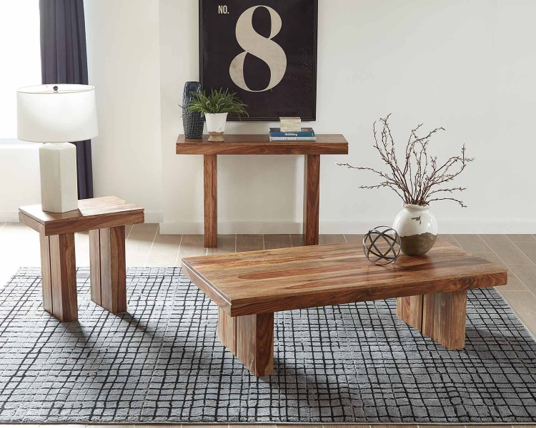 705847 Coffee Table Set - Natural Sheesham