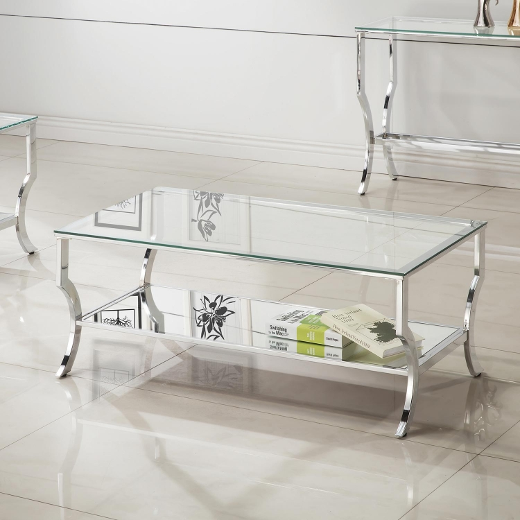 720338 Coffee Table - Chrome / Tempered Glass