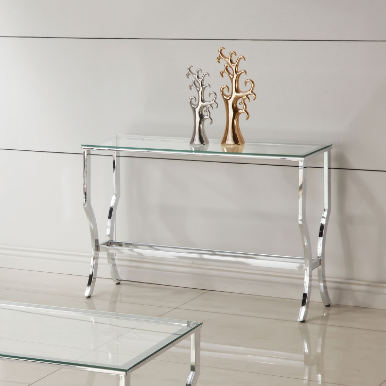 720338 Sofa Table - Chrome / Tempered Glass