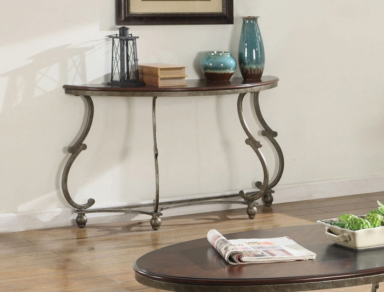720549 Sofa Table - Cherry Brown/ Antique Pewter