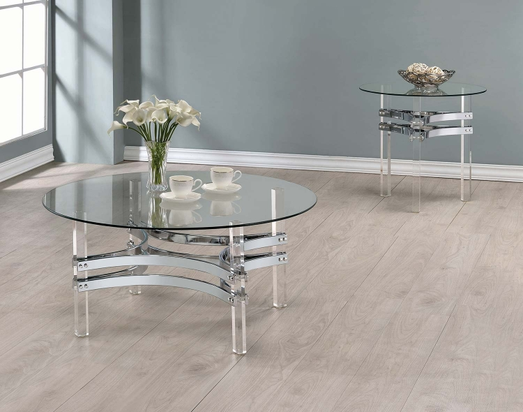 720708 Occasional/Coffee Table Set - Chrome/Clear Acrylic