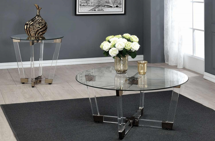 720718 Occasional/Coffee Table Set - Chrome/Clear Acrylic