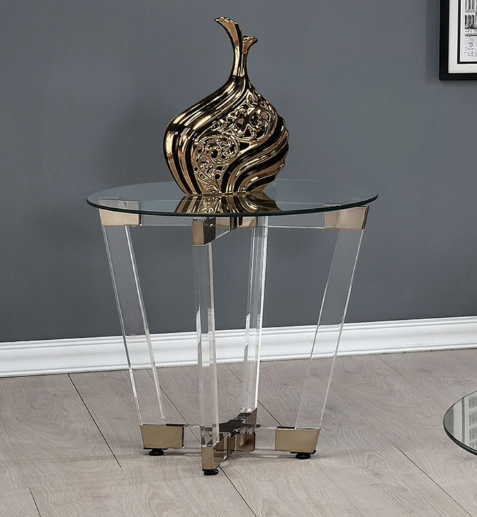 720717 End Table - Chrome/Clear Acrylic