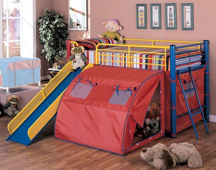 Oates Bunk Bed with Slide and Tent - Coaster